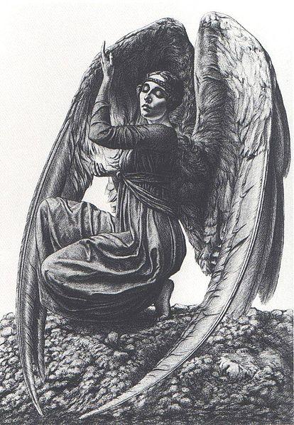 L'ange de mort, 1919, by Carlos Schwabe.