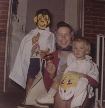Kelly, Mom, and me at Halloween 1963?